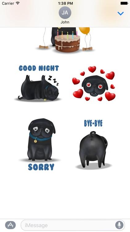 Black Pug Emoji Stickers screenshot-4