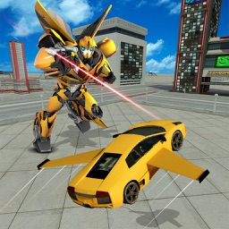 Future Flying Super Car: Robot Fighter Stunts 3D