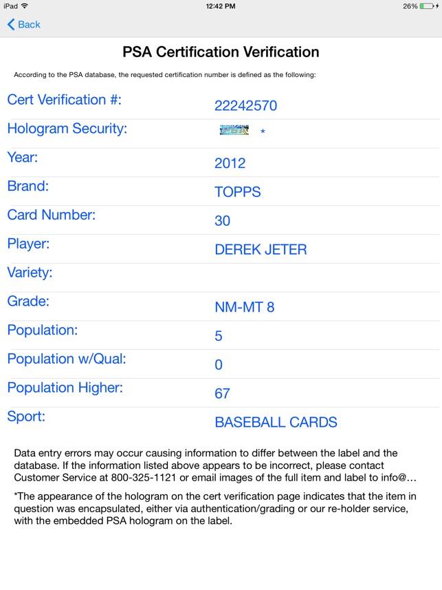 Psa Cert Verification On The App Store
