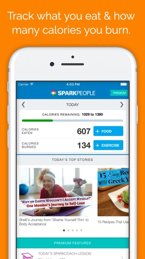 SparkPeople Calorie Tracker on the App