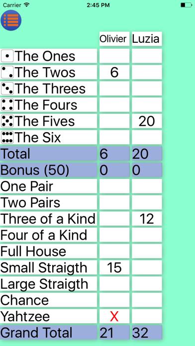 Screen Shot Yatzy Pocket Scorecard 0