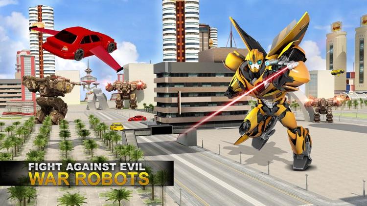 Future Flying Super Car: Robot Fighter Stunts 3D screenshot-3