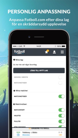 streama fotboll gratis iphone