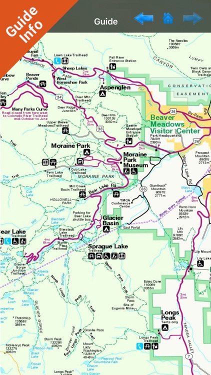 Rocky Mountain National Park gps and outdoor map by Flytomap