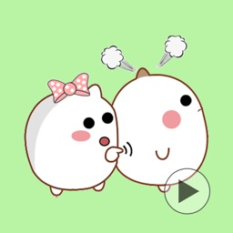 MiuBear Couple Animation Romantic Sticker GIF