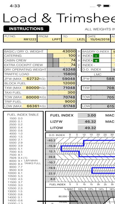 B738 LOADSHEET T&B 189 4z PAX screenshot one