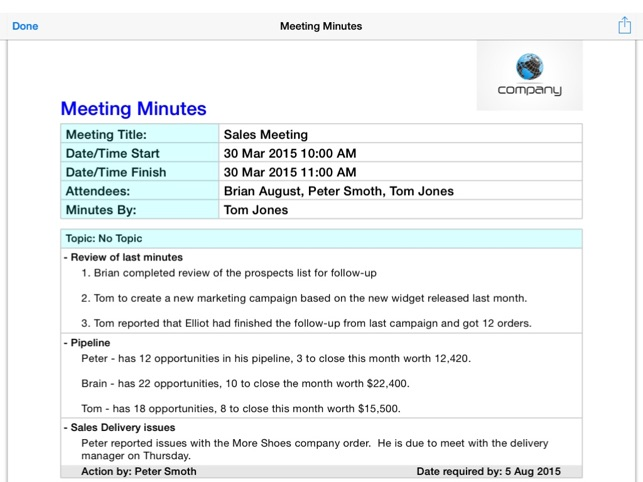 Simple Meeting Minutes On The App Store
