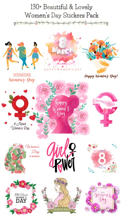 Happy Women's Day Stickers Set