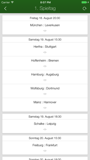 Bundesliga-App + Screenshot
