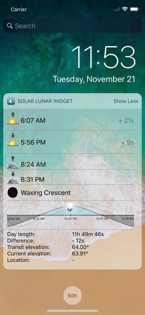 Solar Lunar Widget On The App Store - Current elevation app