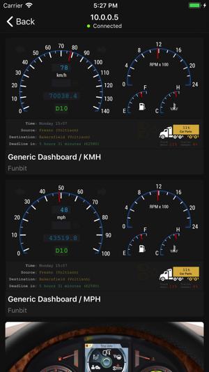 Dashboard for Truck Simulator