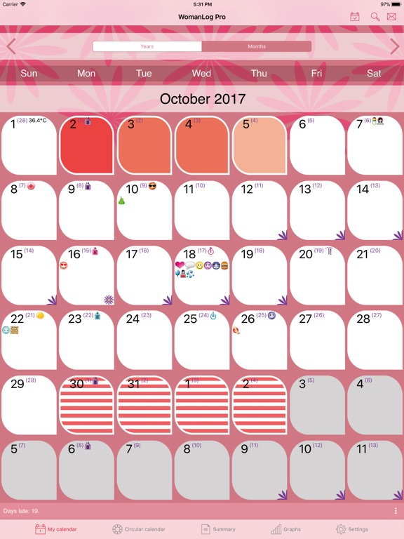 WomanLog Pro Calendar Screenshots