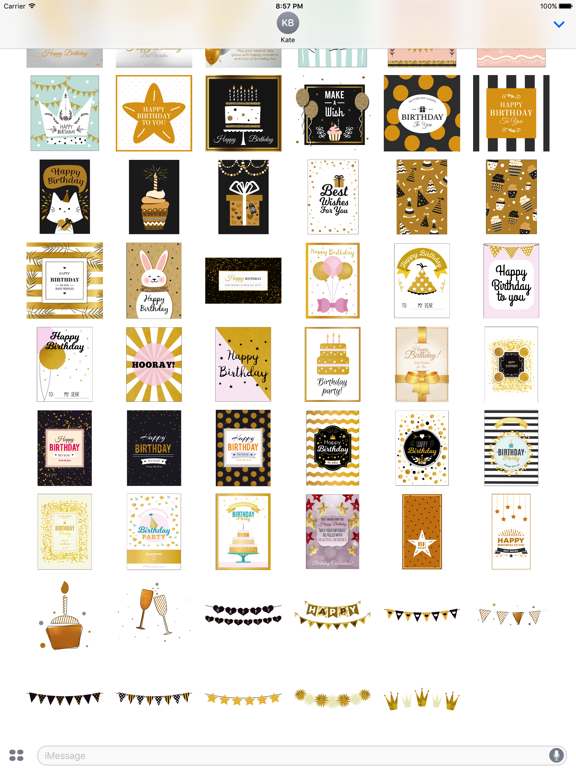Birthday Card - Collection of Gold Style Stickers screenshot 9