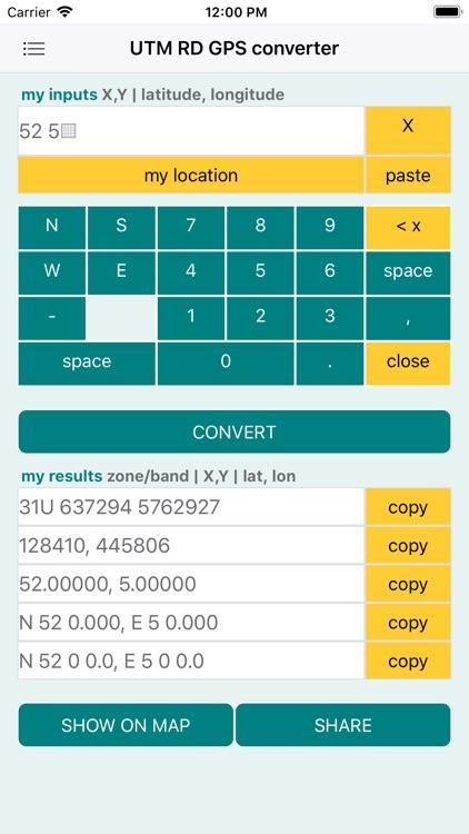 UTM RD GPS coords converter screenshot-3
