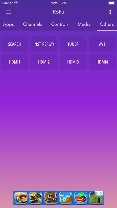 Screenshot of Smart Remote Roku App