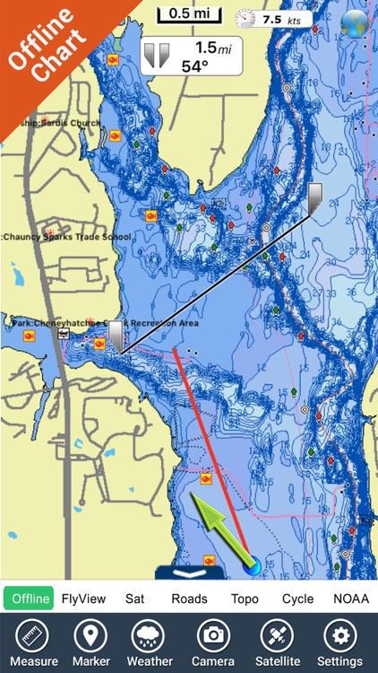 Eufaula lake Oklahoma HD GPS fishing offline chart
