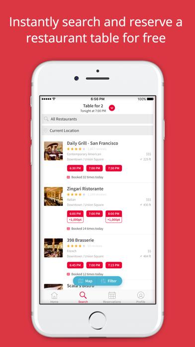 Screenshot 1 for OpenTable's iPhone app'