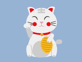 26 animated Lucky Cat, also know as Maneki Neko the Money Cat