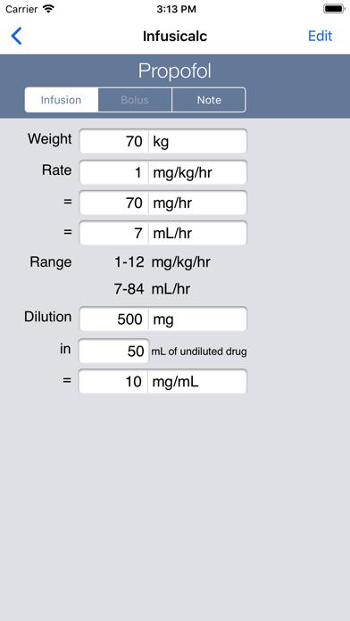 InfusiCalc screenshot