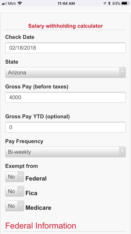 Salary Withholding Calculator