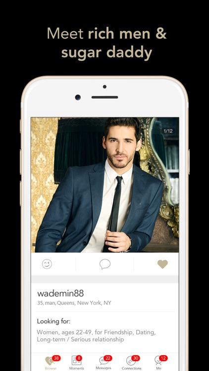 Millionaire Online Dating for Rich Sugar Daddy App