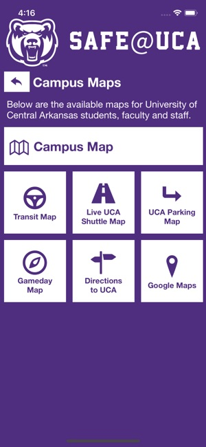 University Of Central Arkansas Campus Map.Safe Uca On The App Store