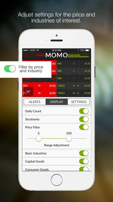 MOMO Stock Discovery & Alerts Screenshot
