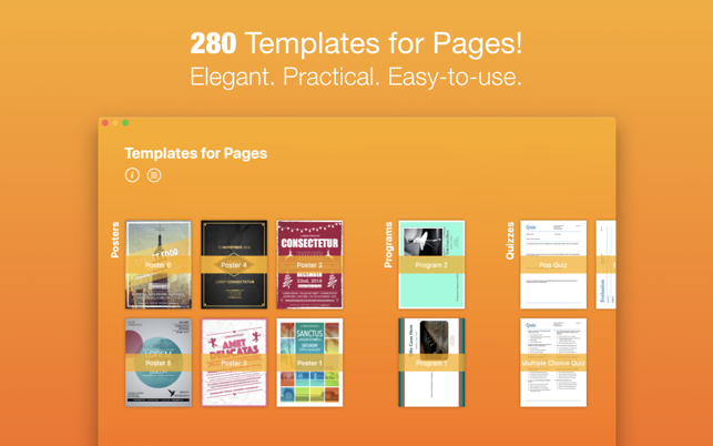 templates for pages nobody on the mac app store