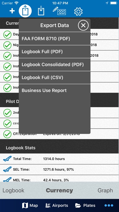 Aerovie, electronic flight bag Screenshot