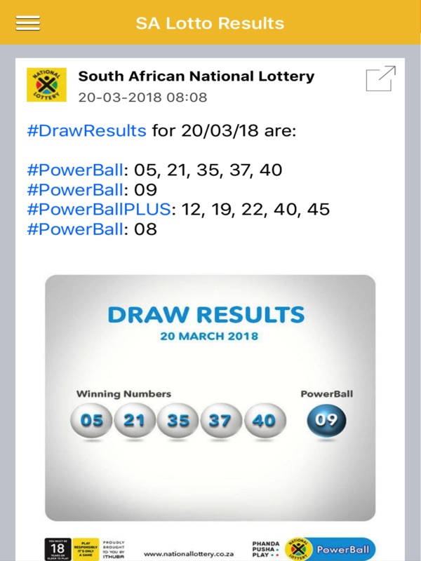 Lotto s a results