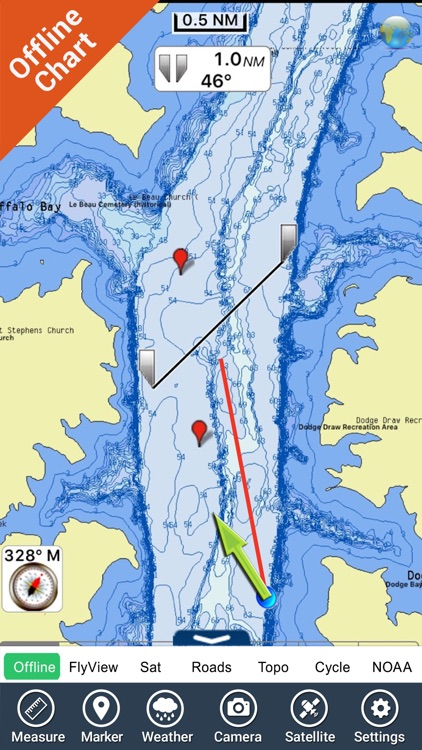 Lake Oahe - Dakota GPS fishing chart & map offline