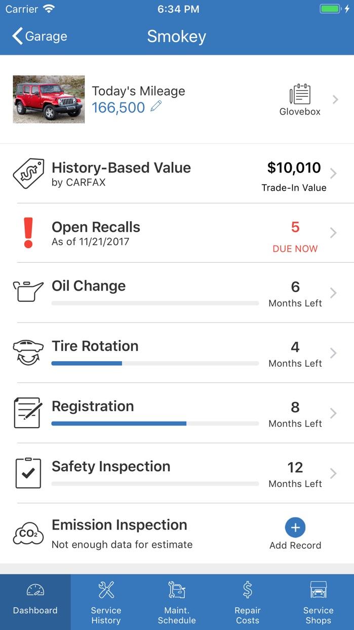 myCARFAX - Car Maintenance Screenshot
