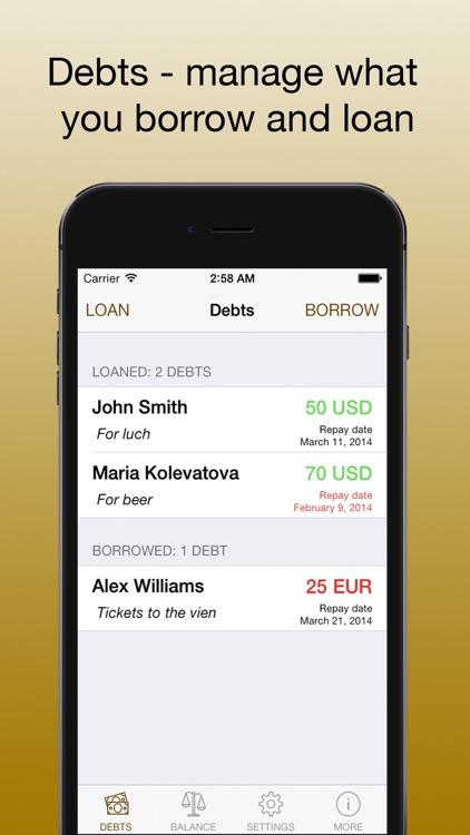 Debts - loans and borrow PRO