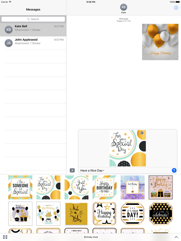 Birthday Card - Collection of Gold Style Stickers screenshot 7