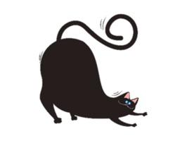 Chubby Black Cat Emoji Sticker