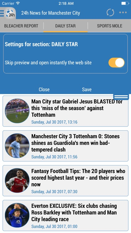 24h News for Manchester City