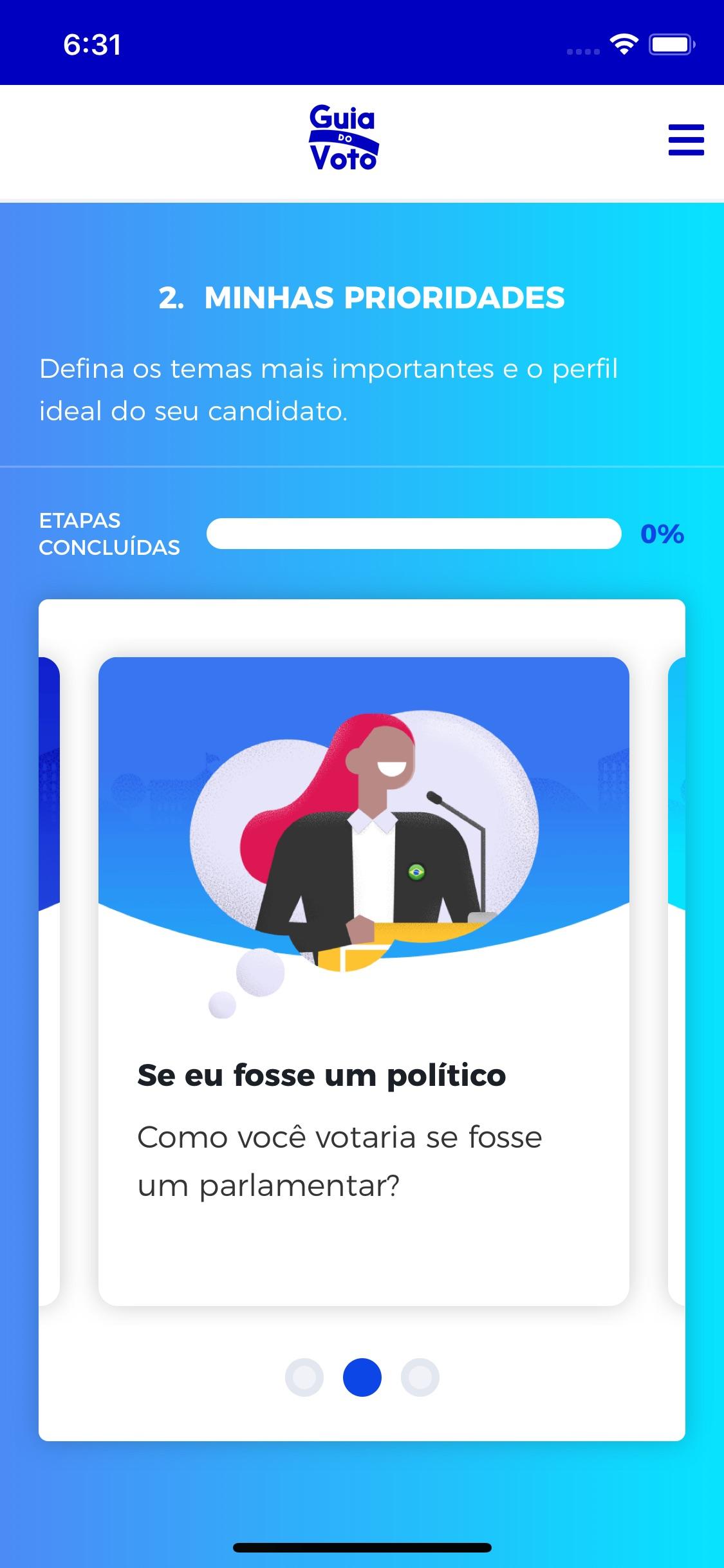 Screenshot do app Guia do Voto