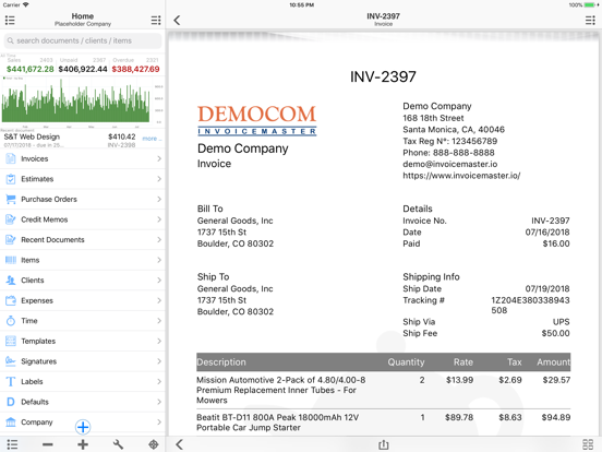 Ipad Screen Shot Invoice Master: Go Easy Simple 1