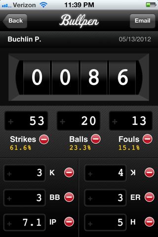 Bullpen Pitch Counter - náhled