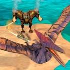 Robot fighting VS Dinosaur war icon