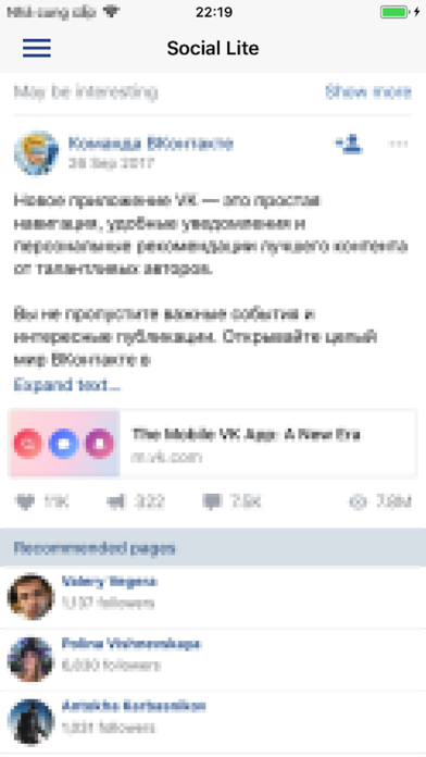 Lite For Facebook & Twitter Screenshot on iOS