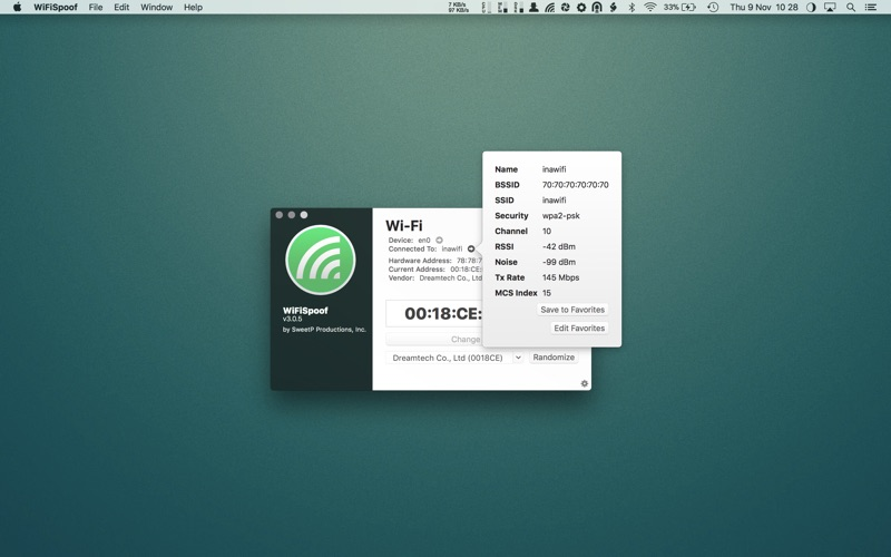 WiFiSpoof for Mac