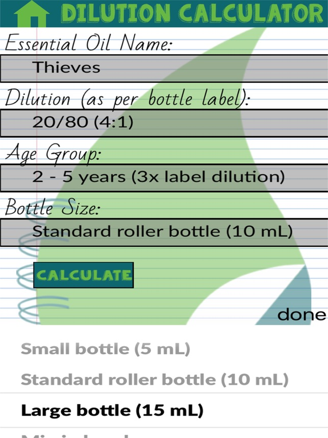 ‎Oil Dilution Calculator