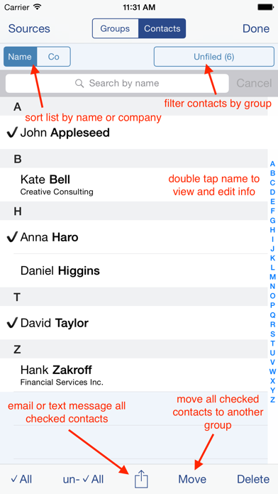 Speed Names - Contacts Screenshot