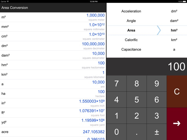 Unit Converter Pro HD. Screenshot