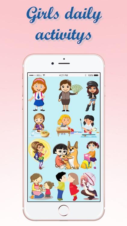 Girls Daily Activity Emojis screenshot-3