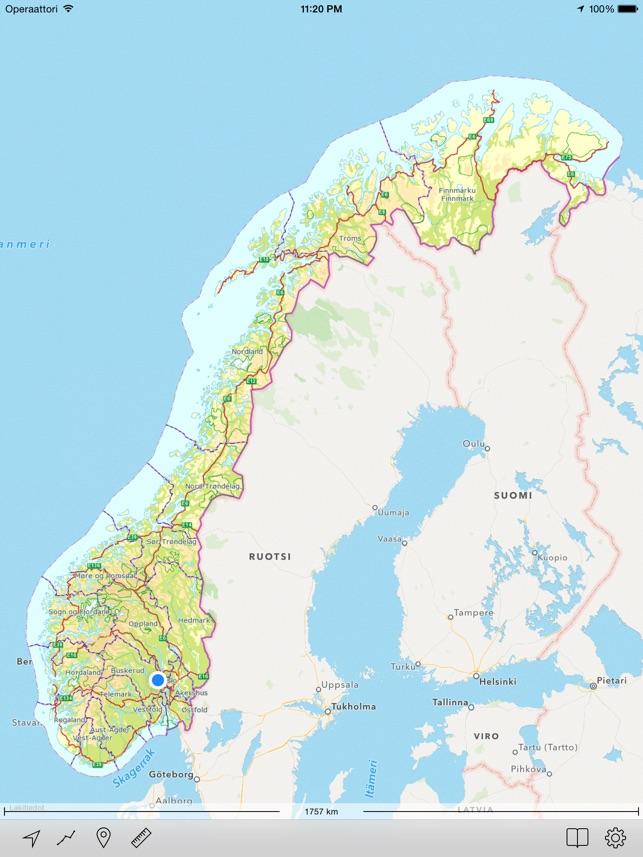 Maastokartta Norja App Storessa