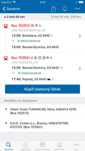 Cestovné poriadky CP Screenshot