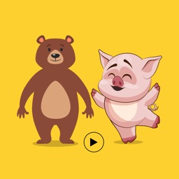 Animated Pig & Bear Stickers