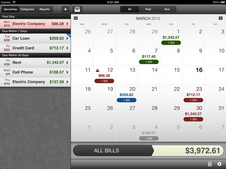 BillMinder 3 for iPad
